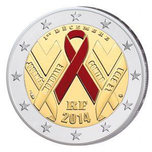 2 Euro-Gedenkmünze 2014 Welt-AIDS-Tag, Stempelglanz