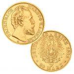 Herzogtum Anhalt 20 Mark 1875, 900er Gold, 7,965g, Ø 22mm, Jaeger-Nr.: 179, Auflage: 25.000
