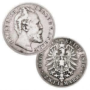 Herzogtum Anhalt 2 Mark 1876, 900er Silber, 11,111g, Ø 28mm, Jaeger-Nr.: 19, Auflage: 200.000