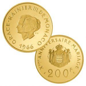 """Fürstentum Monaco 200 Francs 1966 """"10 Jahre Hochzeit Gracia Patricia & Rainier III."""", 920er Gold, 32 Gramm, 35mm, PP (flan bruni), Auflage: 1.000"""