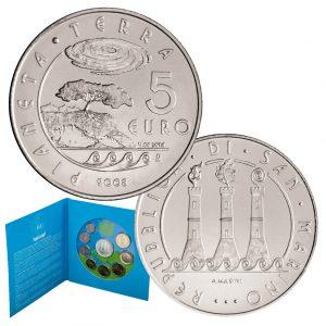 """San Marino offizielle Kursmünzensatz 2008 st, 1 Cent – 2 Euro, 5 Euro-Silbermünze """"Internationales Jahr des Planeten Erde"""""""