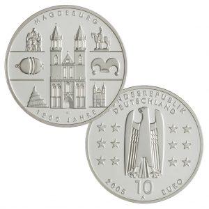 BRD 10 Euro 2005 1200 Jahre Magdeburg, 925er Silber, 18g, Ø 32,5mm, Prägestätte A (Berlin), st Auflage: 1.800.000, PP Auflage: 300.000, Jaeger-Nr. 515