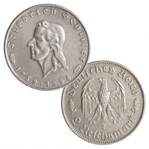 """Deutsches Reich 2 Reichsmark 1934 """"Zum 175. Geburtstag von Friedrich Schiller"""", 625er Silber, 8g, Ø 25mm, Prägestätte F (Stuttgart), Auflage: 300.000,  Jaeger-Nr. 358"""