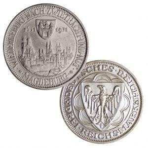 """Weimarer Republik 3 Reichsmark 1931 """"300. Jahrestag des Brands von Magdeburg"""", 500er Silber, 15g, Ø 30mm, Prägestätte A (Berlin), Jaeger-Nr. 347, Auflage: 100.000"""