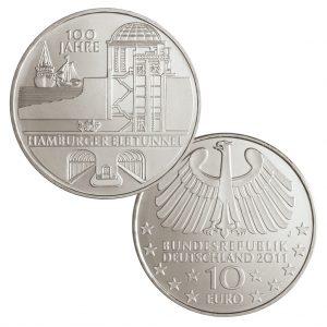 BRD 10 Euro 2011 100 Jahre Hamburger Elbtunnel, st (CuNi, 14g, Ø 32,5mm), PP (625er Silber, 16g, Ø 32,5mm), Jaeger-Nr. 565