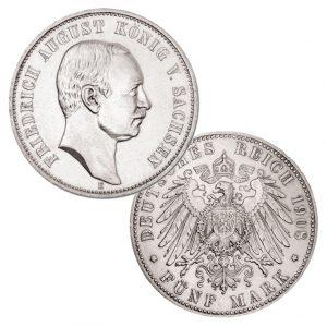 Königreich Sachsen 5 Mark 1907/1908 /1914 Friedrich August III., 900er Silber, 27,778 Gramm, Ø 38mm, Jaeger-Nr. 136