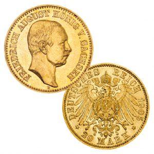 Königreich Sachsen 20 Mark 1905/1913/1914 Friedrich August III., 900er Gold, 7,965 Gramm, Ø 22,5mm, Jaeger-Nr. 268