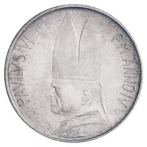"Portraitseite der Vatikan 500 Lire 1966 ""Paul VI."""
