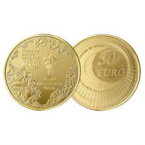 """Frankreich """"Fußball WM 2014 Brasilien"""", 50 Euro 2014, 920er Gold, 8,45g, Ø 22mm, PP, Auflage: 3.000"""