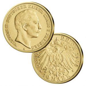 Preußen 10 Mark 1890-1912 Wilhelm II., König von Preußen, Deutscher Kaiser, 900er Gold, 3,982g, Ø 19,5mm, Jaeger-Nr. 251