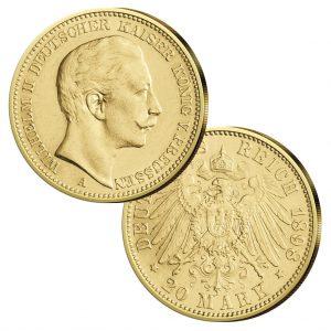 Preußen 20 Mark 1890-1912 Wilhelm II., König von Preußen, Deutscher Kaiser, 900er Gold, 7,965g, Ø 22,5mm, Jaeger-Nr. 252