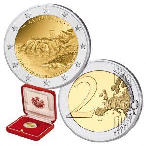 """Monaco 2 Euro-Gedenkmünze 2015 """"800 Jahre Bau des ersten Schlosses auf dem Felsen von Monaco"""""""