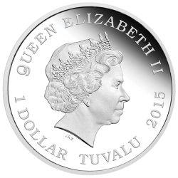 """Wertseite der Münze Tuvalu 1 Dollar 2016 """"Captain Kirk"""", 999er Silber, 1 Unze, Ø 40,60mm, Polierte Platte, Auflage: 5.000"""