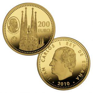 """Spanien 200 Euro 2010 """"Europäische Architektur – La Sagrada Familia von Antoni Gaudi"""", 999er Gold, 13,50g, Ø 30mm, Europastern-Programm, PP, Auflage: 3.000"""