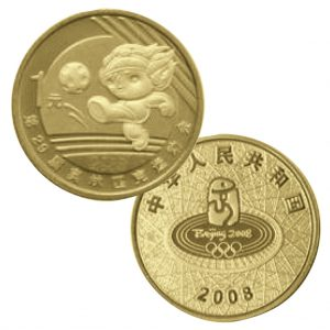 "China 1 Yuan 2008 ""Olympische Spiele Peking – Fußball"",Bronze, 7g, Ø 25mm"