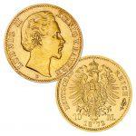 Königreich Bayern 10 Mark 1872/1873, 900er Gold, 3,982g, Ø 19,50mm, Jaeger-Nummer 193