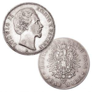 Königreich Bayern 5 Mark 1874/1875/1876, 900er Silber, 27,778g, Ø 38mm, Jaeger-Nummer 42
