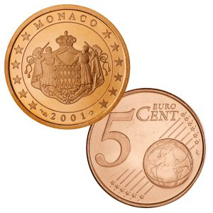 Monaco 5 Cent Kursmünze mit dem Wappen der Grimaldis