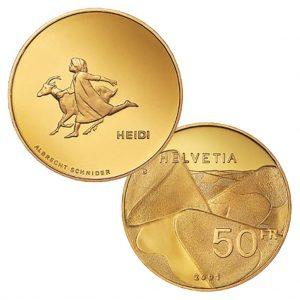 """Heidi, ein Klassiker, als Buch, als Anime, als Goldmünze - Schweiz 50 Franken 2001 """"Heidi, 900er Gold, 11,29g, Ø 25mm, PP, Auflage: 7.000"""