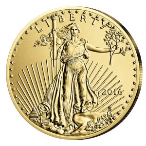 """Motivseite """"Walking Liberty«, die dem Betrachter entgegen¬laufende Personifikation der Freiheit, nach dem Entwurf von Augustus Saint-Gaudens"""" der Münze USA 50 Dollar 2016 """"Gold Eagle"""", 916,7er Gold, 33,930g (Feingewicht 31,103g), Ø 32,7mm"""