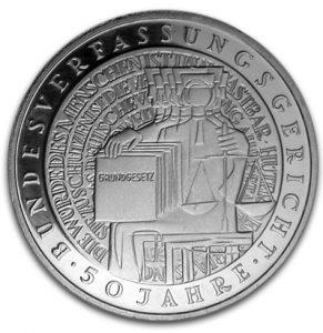 BRD 10 DM 2001 50. Jahrestag Bundesverfassungsgericht, 925er Silber, 15,5g, Ø 32,5mm, Jaeger-Nr. 480, Prägestätte G (Karlsruhe), Auflage: 2.500.000, PP: Prägestätten ADFGJ, Auflage je 163.000