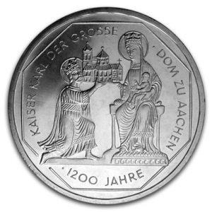 BRD 10 DM 2000 1200 Jahrestag Kaiserkrönung Karls des Großen und Dom zu Aachen, 925er Silber, 15,5g, Ø 32,5mm, Jaeger-Nr. 475, Prägestätte G (Karlsruhe), Auflage: 3.000.000, PP: Prägestätten ADFGJ, Auflage je 160.000