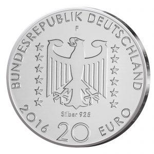 Wertseite der Münze BRD 20 Euro 2016 125. Geburtstag Nelly Sachs, 925er Silber 18g, Ø 32,5mm