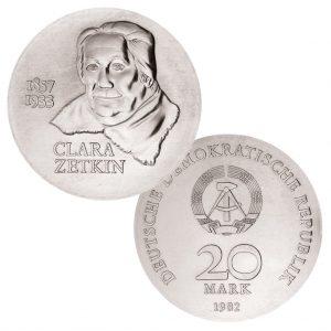 DDR 20 Mark 1982 125. Geburtstag Clara Zetkin, 500er Silber, 20.9g, Ø 33mm, Prägestätte A (Berlin), Auflage: 39.500 (PP: 5.500), Jaeger-Nr. 1587