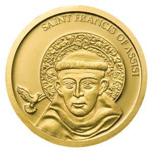 """Palau 1 Dollar 2008 """"Franz von Assisi"""", 999,9er Gold, 1/25 Unze, Ø 13,92mm, PP, Auflage: 25.000"""
