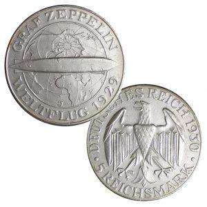 "Weimarer Republik 5 Reichsmark 1930 Weltflug des Luftschiffes ""Graf Zeppelin"" 1929, 500er Silber, 25g, Ø 36mm, Prägestätten ADEFGJ (Berlin, München, Muldenhütten, Stuttgart, Karlsruhe, Hamburg), Jaeger-Nr. 343"