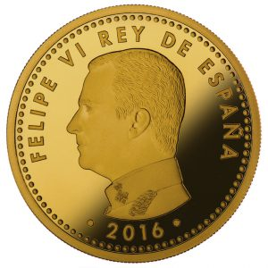 """König Felipe auf der Goldmünze Spanien 200 Euro 2016 """"400. Todestag von Miguel de Cervantes'"""""""