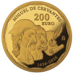"""Spanien 200 Euro 2016 """"400. Todestag von Miguel de Cervantes'"""", 999er Gold 13,50g, ø30mm, im Etui mit Echtheitszertifikat, PP, Auflage: 2.500"""
