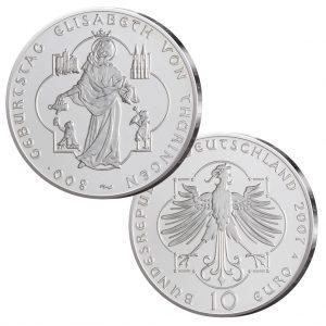 BRD 10 Euro 2007 800. Geburtstag Elisabeth von Thüringen, 925er Silber, 18g, Ø 32,5mm, Prägestätte A (Berlin), st Auflage: 1.600.000, PP Auflage: 300.000, Jaeger-Nr. 532