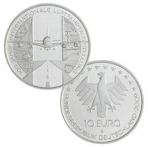 BRD 10 Euro 2009 100 Jahre Internationale Luftfahrtausstellung, 925er Silber, 18g, Ø 32,5mm, Prägestätte D, st Auflage: 1.500.000, PP Auflage: 200.000, Jaeger-Nr. 544