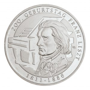 BRD 10 Euro 2011 200. Geburtstag Franz Liszt, 625er Silber, 16g, Ø 32,5mm, Prägestätte G (Karlsruhe), st Auflage: 2.187.000, PP Auflage: 178.000, Jaeger-Nr. 559