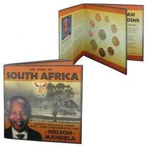 """Südafrika Kursmünzensatz """"Nelson Mandela"""", 1 Cent bis 5 Rand 2001-2005, 5 Rand Nelson Mandela, im Blister mit Lebenslauf Mandela, unzirkuliert"""