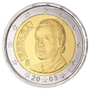 Spanische 2 Euro-Kursmünze mit König Juan Carlos