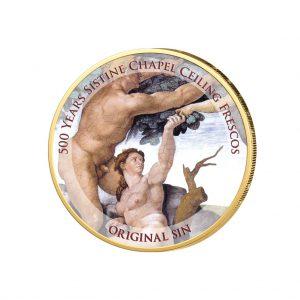 """Der """"Sündenfall"""", Detail aus den Deckenfresken der Sixtinischen Kapelle, als Farbmotiv auf 2 Euro-Münze"""