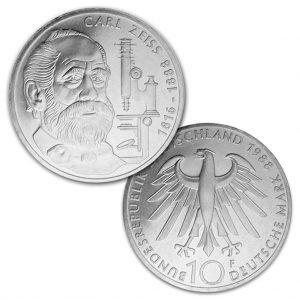 BRD 10 DM 1988 100. Todestag Carl Zeiss, 625er Silber, 15,5g, Ø 32,5mm, Prägestätte F (Stuttgart), Jaeger-Nr. 444, Auflage: 8.000.000 (PP: 350.000)