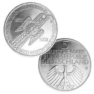 BRD 5 DM 1952, 625er Silber, 11,2g, 29mm, Prägestätte D (München), Auflage: 198.760, Jaeger-Nr. 388