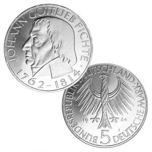 5 DM 1964 150. Todestag Johann Gottlieb Fichte