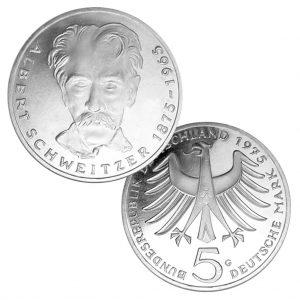 BRD 5 DM 1975 100. Geburtstag Albert Schweitzer, 625er Silber, 11,2g, Ø 29mm, Prägestätte G (Karlsruhe), Jaeger-Nr. 418, Auflage: 7.750.000 (PP: 250.000)