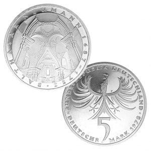 BRD 5 DM 1978 225. Todestag von Balthasar Neumann, 625er Silber, 11,2g, Ø 29mm, Prägestätte F (München), Jaeger-Nr. 422, Auflage: 7.740.880 (PP: 259.120)