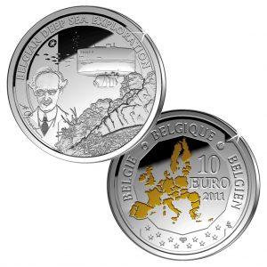 """Belgien 10 Euro 2011 """"Europäische Entdecker - Tiefsee-Forscher Auguste Piccard"""", 925er Silber mit Goldapplikation, 18,75g, Ø 33mm, Auflage: 15.000"""