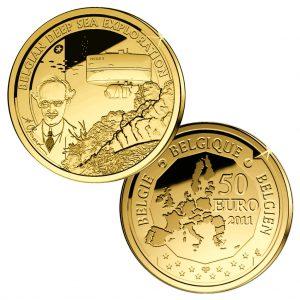 """Belgien 50 Euro 2011 """"Europäische Entdecker - Tiefsee-Forscher Auguste Piccard"""", 999er Gold, 6,22g, Ø 21mm, Auflage: 2.500"""