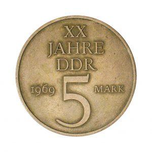 Wertseite der Münze DDR 5 Mark 1969 20 Jahre DDR