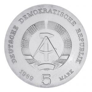 Wertseite der Münze DDR 5 Mark 1969 75. Todestag Heinrich Hertz