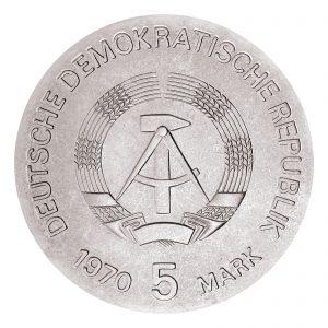 Wertseite der Münze DDR 5 Mark 1970 125. Geburtstag Wilhelm Conrad Röntgen