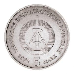 Wertseite der Münze DDR 5 Mark 1971-1990 Berlin, Hauptstadt der DDR, Brandenburger Tor