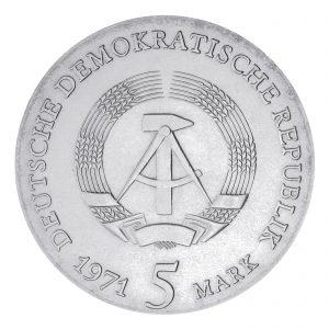 Wertseite der Münze DDR 5 Mark 1971 400. Geburtstag Johannes Kepler